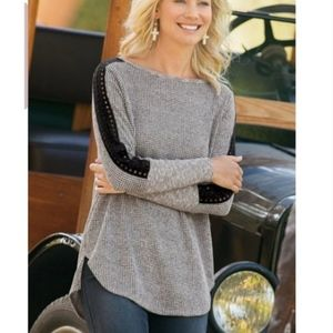 Soft Surroundings Bailey Lace Knit Top